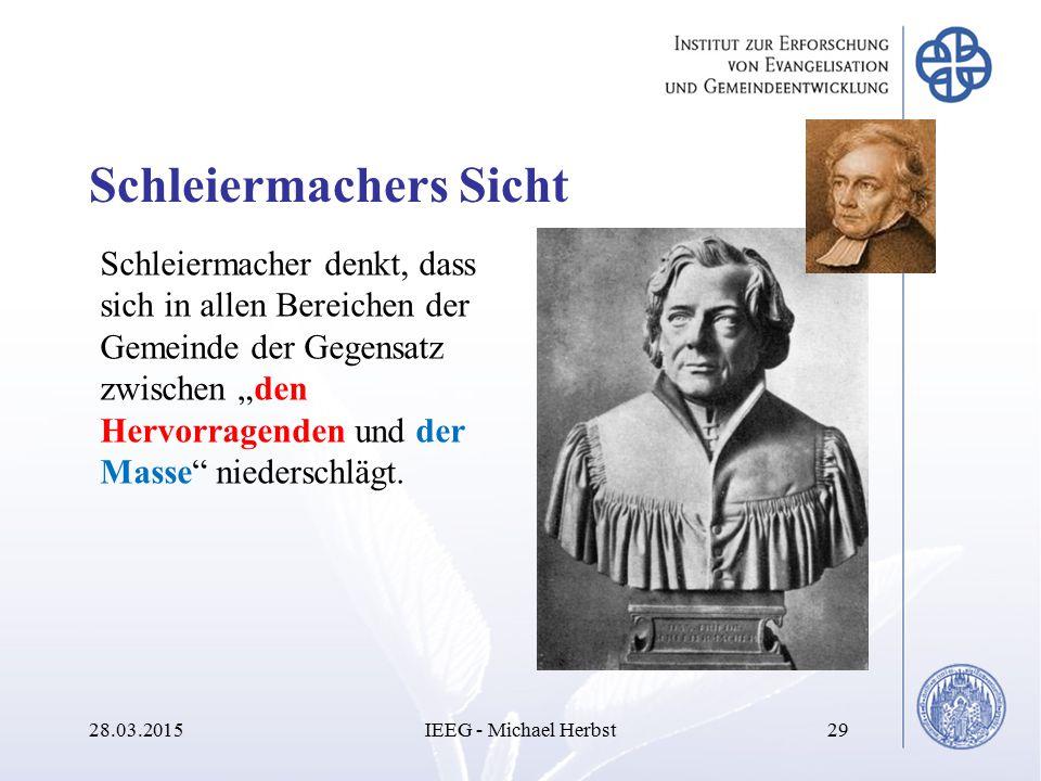 """Schleiermachers Sicht 28.03.2015IEEG - Michael Herbst29 Schleiermacher denkt, dass sich in allen Bereichen der Gemeinde der Gegensatz zwischen """"den He"""