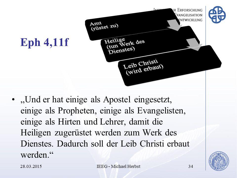 """Eph 4,11f """"Und er hat einige als Apostel eingesetzt, einige als Propheten, einige als Evangelisten, einige als Hirten und Lehrer, damit die Heiligen z"""