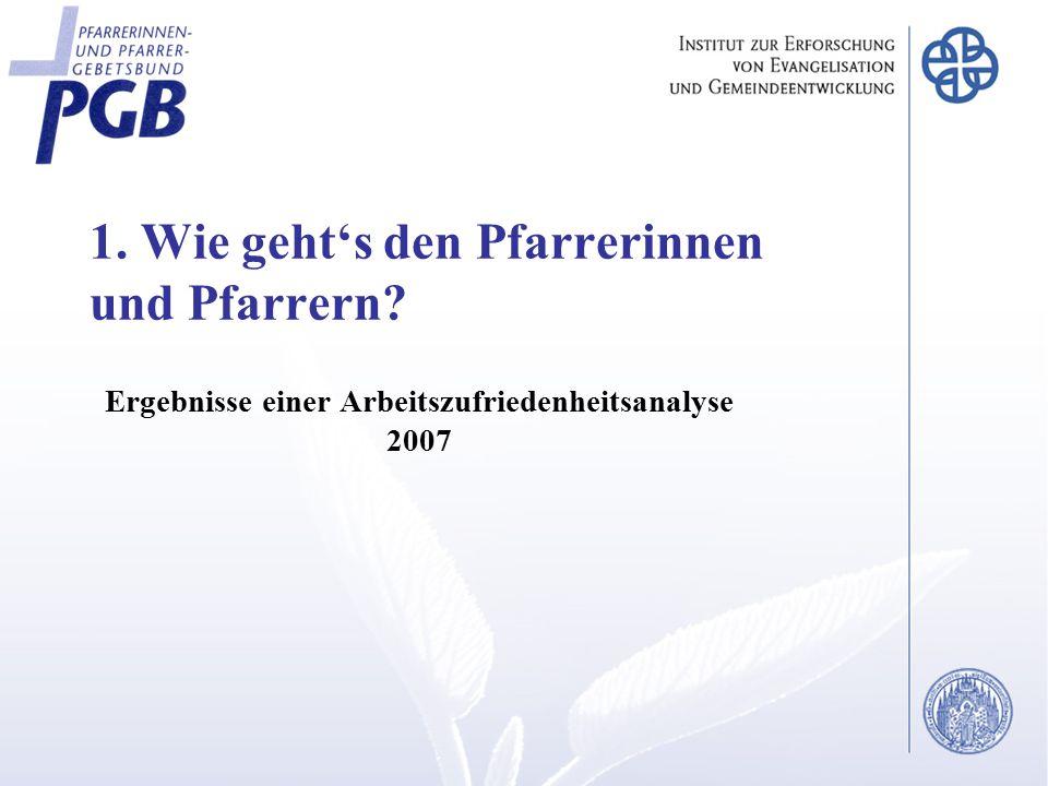 1. Wie geht's den Pfarrerinnen und Pfarrern? Ergebnisse einer Arbeitszufriedenheitsanalyse 2007