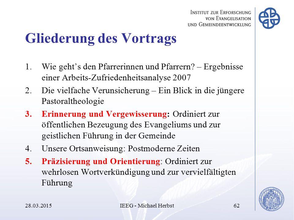 Gliederung des Vortrags 1.Wie geht's den Pfarrerinnen und Pfarrern? – Ergebnisse einer Arbeits-Zufriedenheitsanalyse 2007 2.Die vielfache Verunsicheru