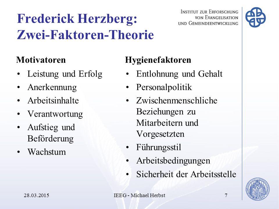 Frederick Herzberg: Zwei-Faktoren-Theorie Motivatoren Leistung und Erfolg Anerkennung Arbeitsinhalte Verantwortung Aufstieg und Beförderung Wachstum H