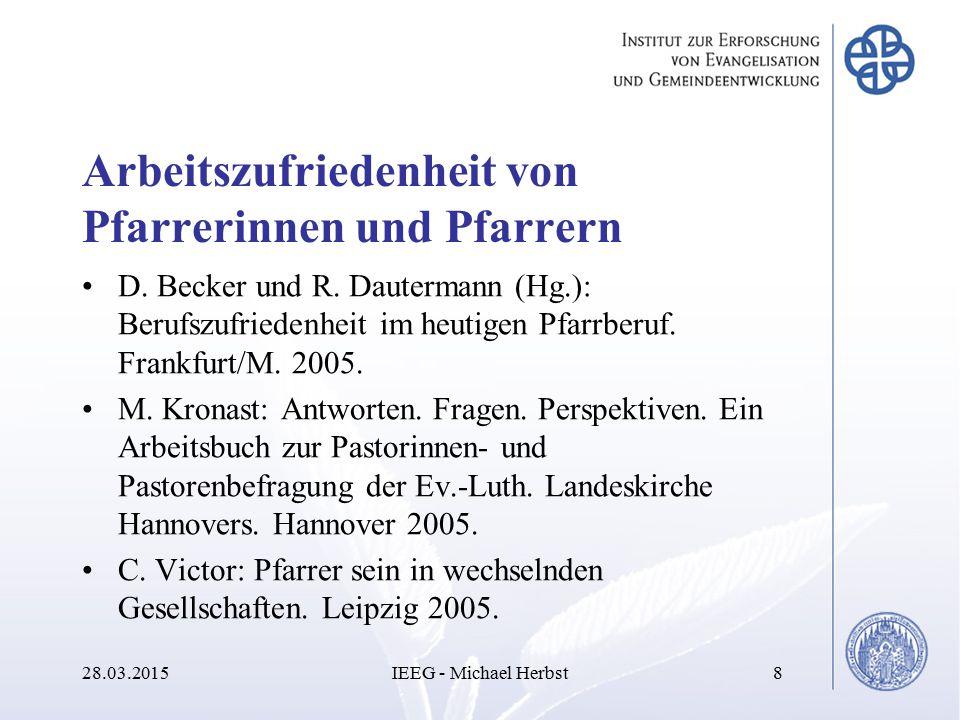 Arbeitszufriedenheit von Pfarrerinnen und Pfarrern D. Becker und R. Dautermann (Hg.): Berufszufriedenheit im heutigen Pfarrberuf. Frankfurt/M. 2005. M