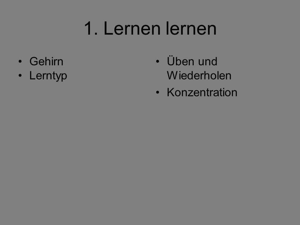 1. Lernen lernen Gehirn Lerntyp Üben und Wiederholen Konzentration