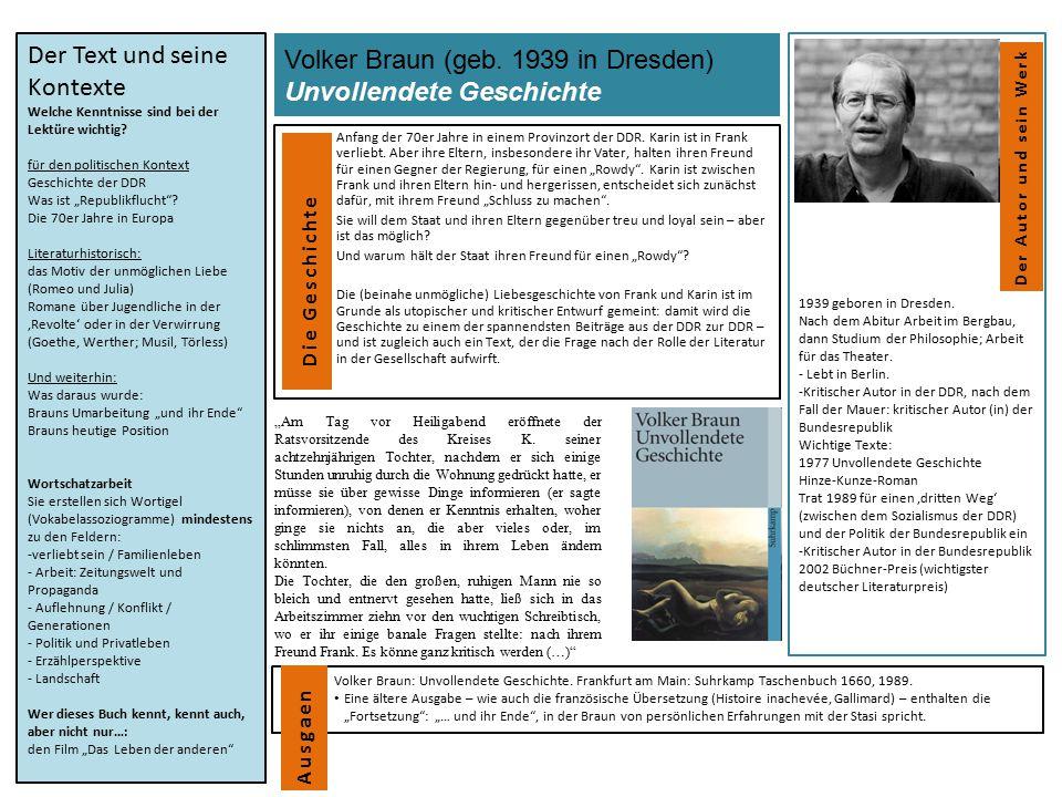 Volker Braun (geb. 1939 in Dresden) Unvollendete Geschichte Anfang der 70er Jahre in einem Provinzort der DDR. Karin ist in Frank verliebt. Aber ihre
