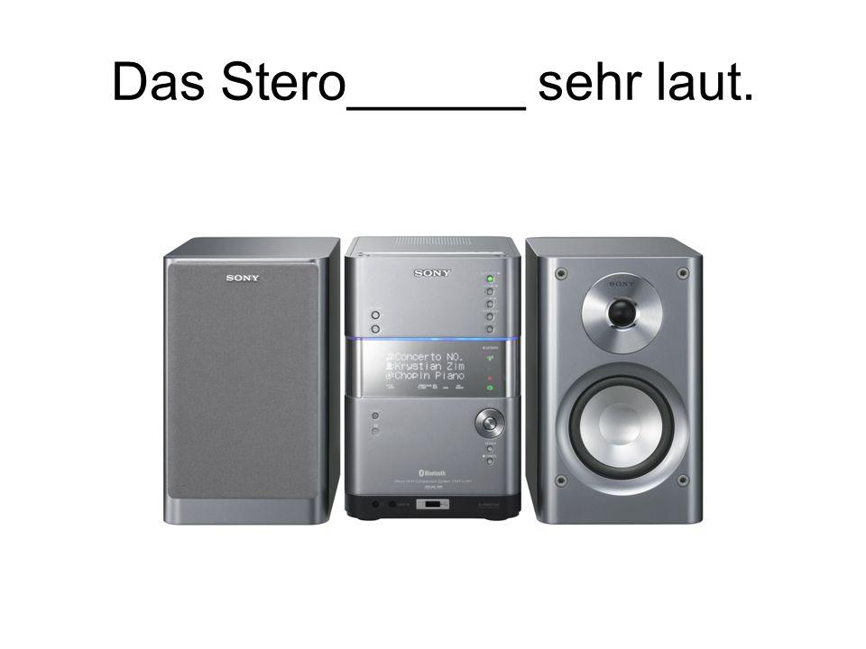 Das Stero______ sehr laut.