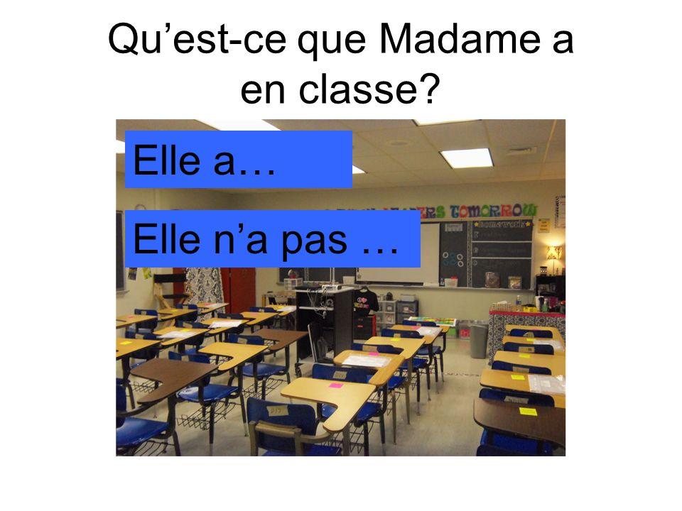 Qu'est-ce que Madame a en classe Elle a… Elle n'a pas …