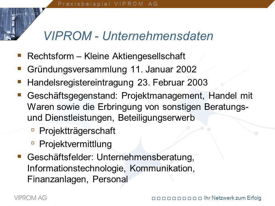 Ihr Netzwerk zum Erfolg VIPROM - Unternehmensdaten  Rechtsform – Kleine Aktiengesellschaft  Gründungsversammlung 11. Januar 2002  Handelsregisterei