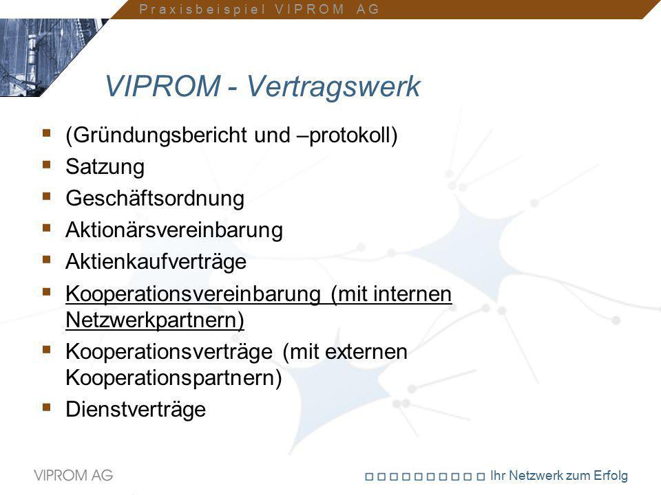 Ihr Netzwerk zum Erfolg VIPROM - Vertragswerk  (Gründungsbericht und –protokoll)  Satzung  Geschäftsordnung  Aktionärsvereinbarung  Aktienkaufver