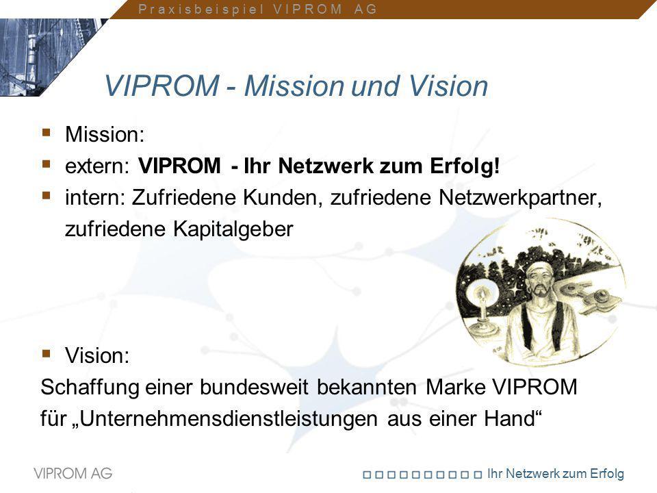 Ihr Netzwerk zum Erfolg VIPROM - Mission und Vision  Mission:  extern: VIPROM - Ihr Netzwerk zum Erfolg!  intern: Zufriedene Kunden, zufriedene Net