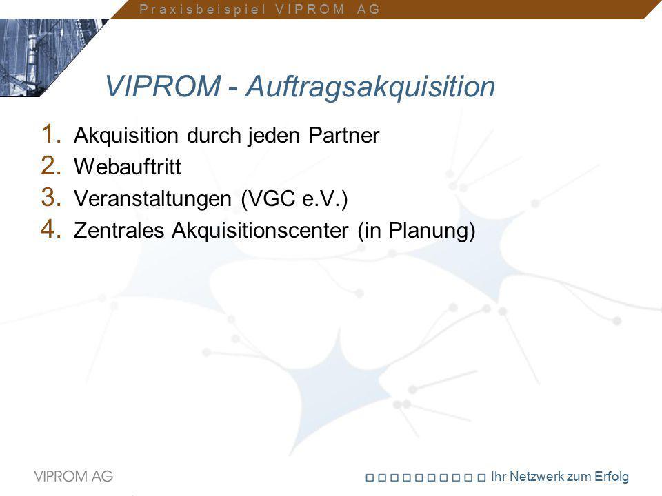 Ihr Netzwerk zum Erfolg VIPROM - Auftragsakquisition 1. Akquisition durch jeden Partner 2. Webauftritt 3. Veranstaltungen (VGC e.V.) 4. Zentrales Akqu