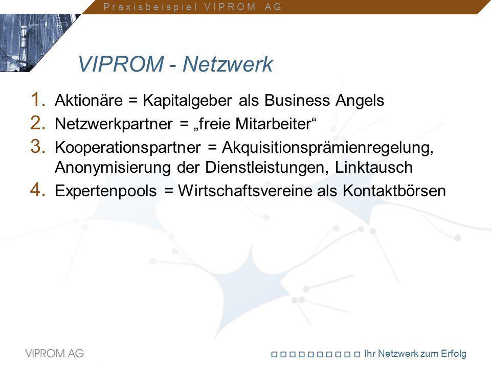 """Ihr Netzwerk zum Erfolg VIPROM - Netzwerk 1. Aktionäre = Kapitalgeber als Business Angels 2. Netzwerkpartner = """"freie Mitarbeiter"""" 3. Kooperationspart"""