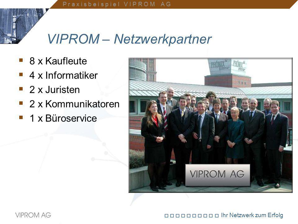 Ihr Netzwerk zum Erfolg VIPROM – Netzwerkpartner  8 x Kaufleute  4 x Informatiker  2 x Juristen  2 x Kommunikatoren  1 x Büroservice P r a x i s