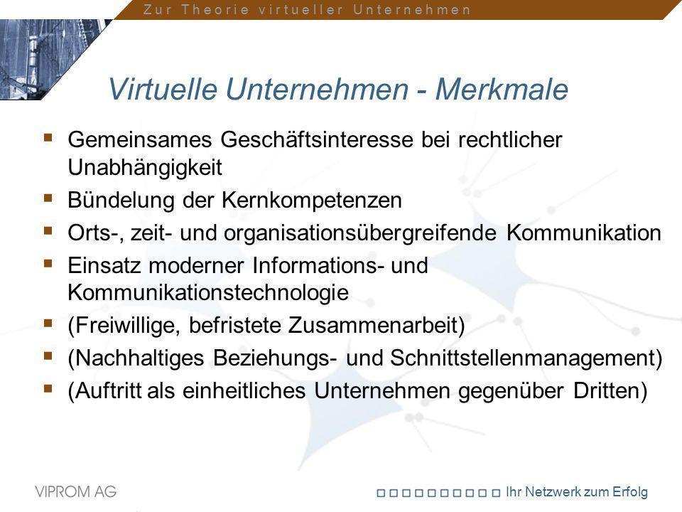 Ihr Netzwerk zum Erfolg Virtuelle Unternehmen - Merkmale  Gemeinsames Geschäftsinteresse bei rechtlicher Unabhängigkeit  Bündelung der Kernkompetenz