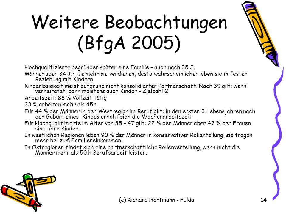 (c) Richard Hartmann - Fulda14 Weitere Beobachtungen (BfgA 2005) Hochqualifizierte begründen später eine Familie – auch nach 35 J. Männer über 34 J.: