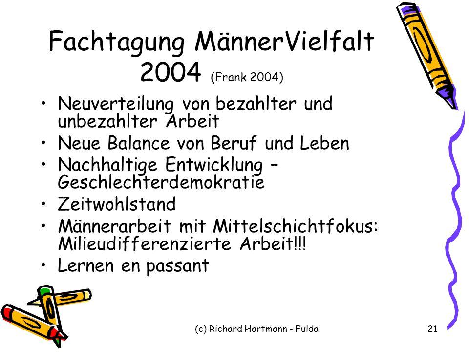 (c) Richard Hartmann - Fulda21 Fachtagung MännerVielfalt 2004 (Frank 2004) Neuverteilung von bezahlter und unbezahlter Arbeit Neue Balance von Beruf u