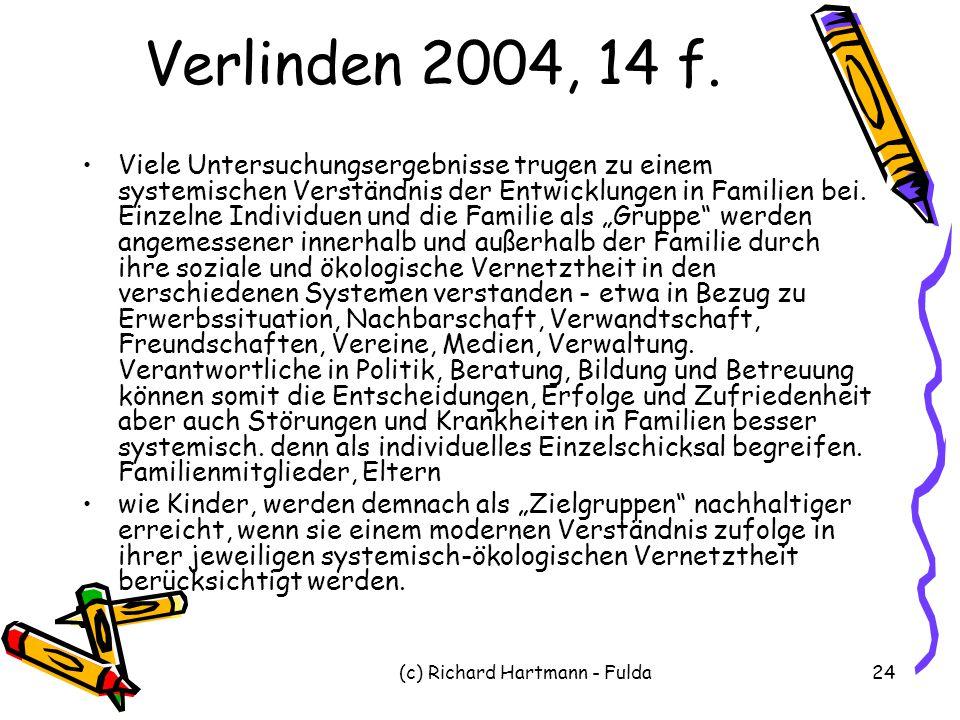 (c) Richard Hartmann - Fulda24 Verlinden 2004, 14 f. Viele Untersuchungsergebnisse trugen zu einem systemischen Verständnis der Entwicklungen in Famil