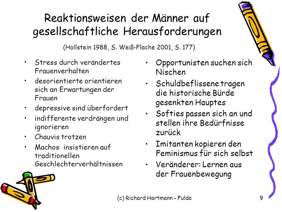(c) Richard Hartmann - Fulda9 Reaktionsweisen der Männer auf gesellschaftliche Herausforderungen (Hollstein 1988, S. Weiß-Flache 2001, S. 177) Stress