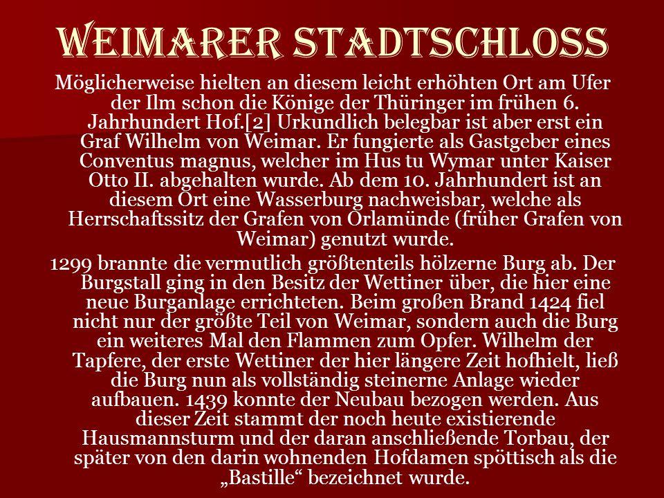 Möglicherweise hielten an diesem leicht erhöhten Ort am Ufer der Ilm schon die Könige der Thüringer im frühen 6. Jahrhundert Hof.[2] Urkundlich belegb