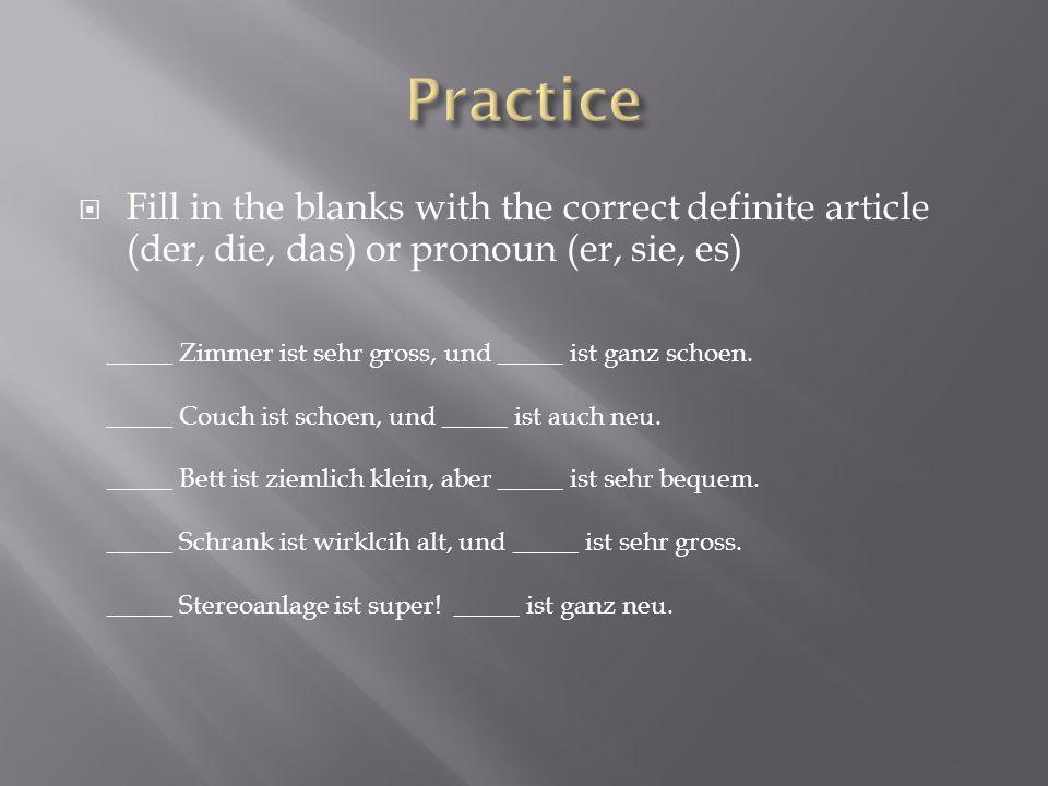  Fill in the blanks with the correct definite article (der, die, das) or pronoun (er, sie, es) _____ Zimmer ist sehr gross, und _____ ist ganz schoen.