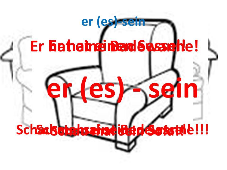 Er hat ein Sofa. er (es)-sein Er hat einen Sessel.