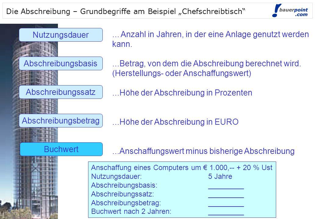 """© bauerpoint.com © bauerpoint.com Die Abschreibung – Grundbegriffe am Beispiel """"Chefschreibtisch Nutzungsdauer Abschreibungsbasis Abschreibungssatz Abschreibungsbetrag Buchwert..."""