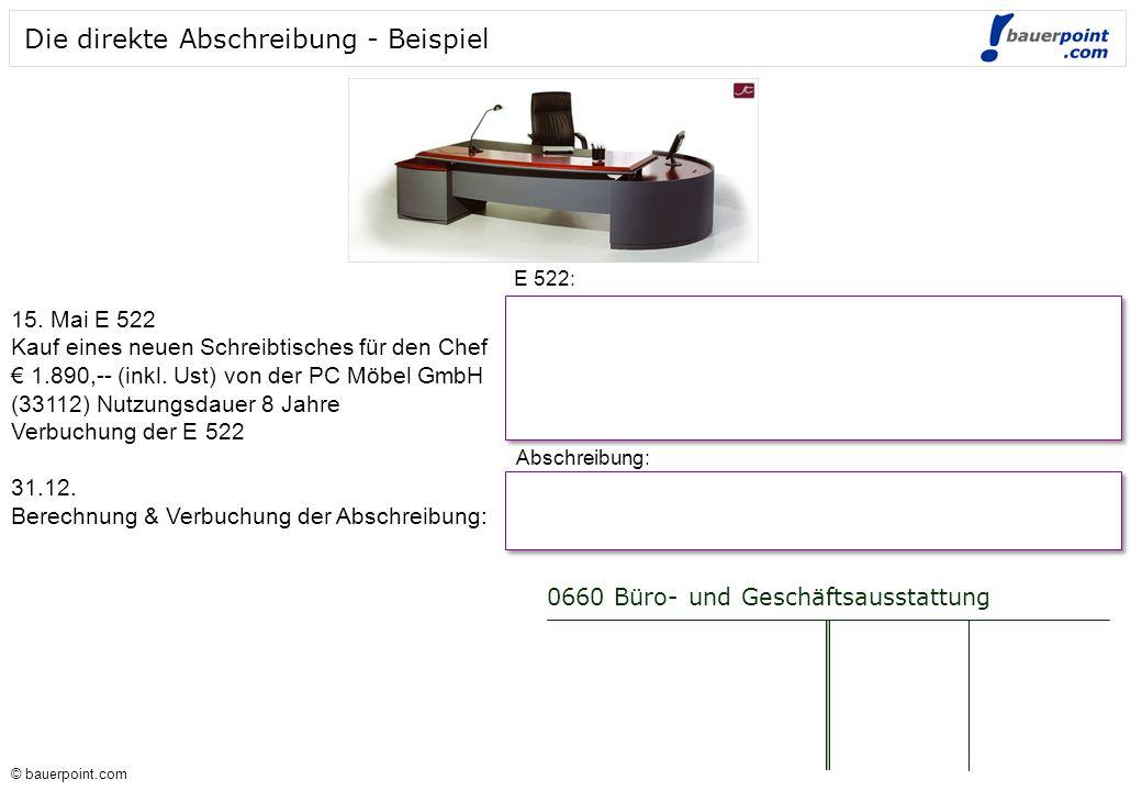 © bauerpoint.com © bauerpoint.com Die direkte Abschreibung - Beispiel 0660 Büro- und Geschäftsausstattung E 522: 15.