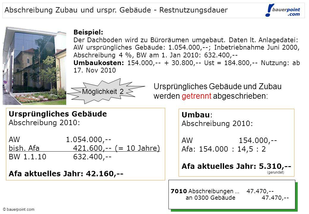 © bauerpoint.com © bauerpoint.com Abschreibung Zubau und urspr.