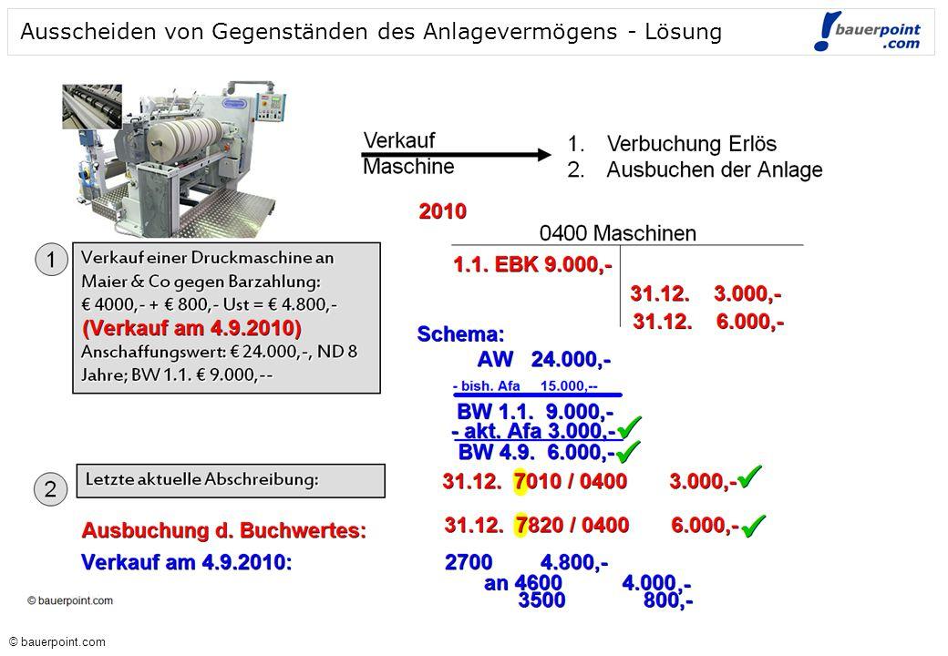© bauerpoint.com © bauerpoint.com Ausscheiden von Gegenständen des Anlagevermögens - Lösung