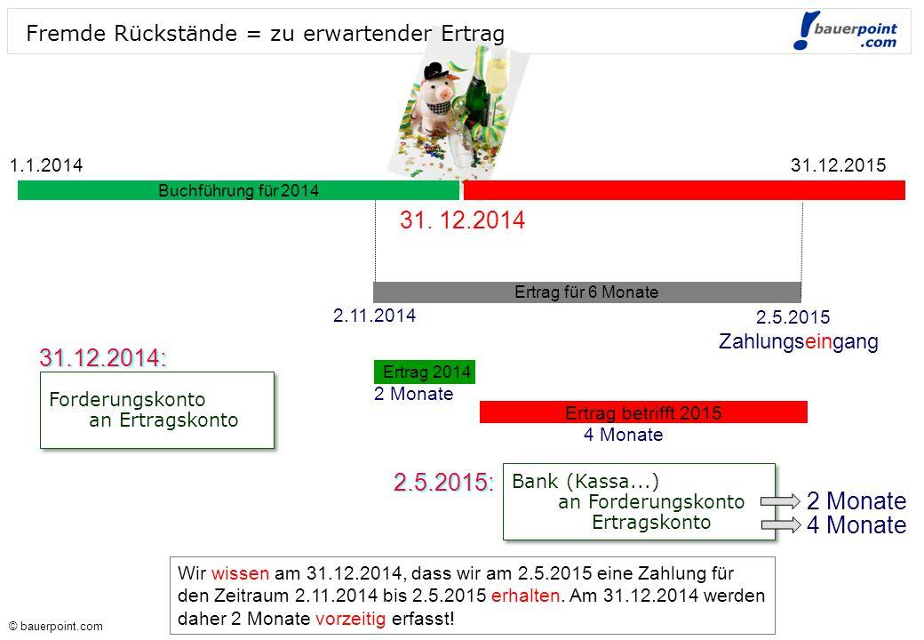 © bauerpoint.com © bauerpoint.com Fremde Rückstände = zu erwartender Ertrag Ertrag für 6 Monate 2.11.2014 2.5.2015 Ertrag 2014 Ertrag betrifft 2015 2 Monate 4 Monate Forderungskonto an Ertragskonto Forderungskonto an Ertragskonto Bank (Kassa...) an Forderungskonto Ertragskonto Bank (Kassa...) an Forderungskonto Ertragskonto 2 Monate 4 Monate 31.12.2014: Zahlungseingang 2.5.2015: Buchführung für 2014 Wir wissen am 31.12.2014, dass wir am 2.5.2015 eine Zahlung für den Zeitraum 2.11.2014 bis 2.5.2015 erhalten.