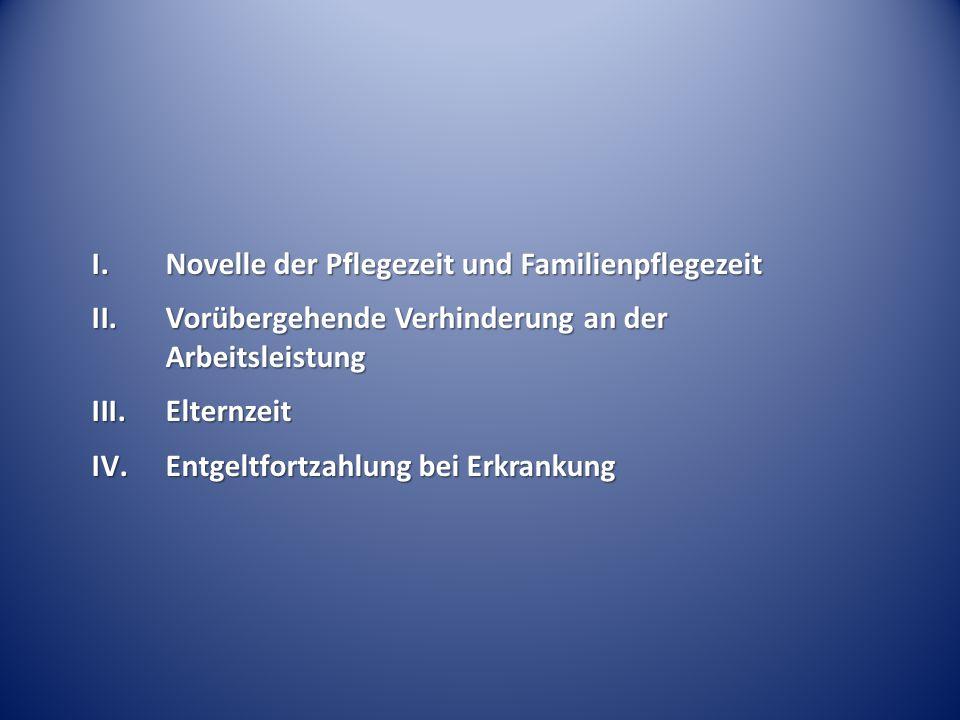 I.Novelle der Pflegezeit und Familienpflegezeit II.Vorübergehende Verhinderung an der Arbeitsleistung III.Elternzeit IV.Entgeltfortzahlung bei Erkrankung