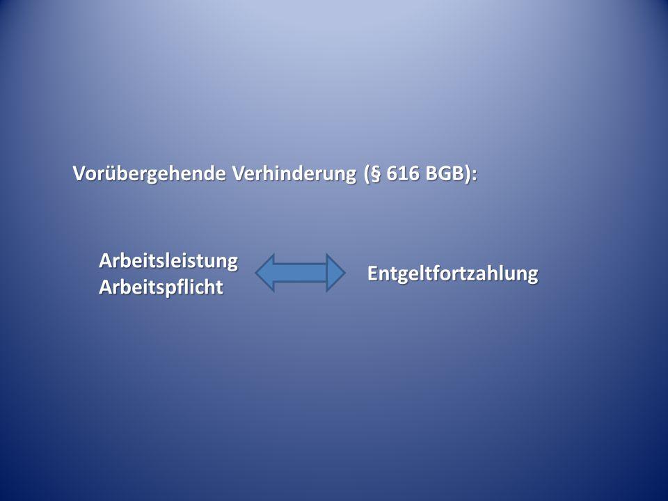 Vorübergehende Verhinderung (§ 616 BGB): Arbeitsleistung Arbeitspflicht Entgeltfortzahlung