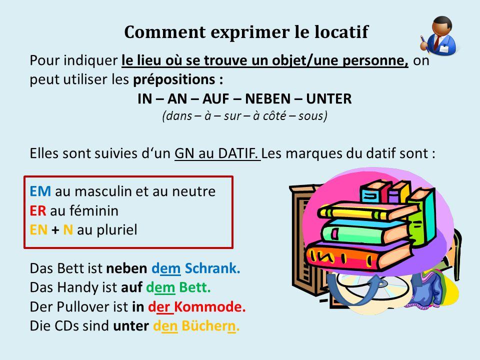 Comment exprimer le locatif Pour indiquer le lieu où se trouve un objet/une personne, on peut utiliser les prépositions : IN – AN – AUF – NEBEN – UNTER (dans – à – sur – à côté – sous) Elles sont suivies d'un GN au DATIF.