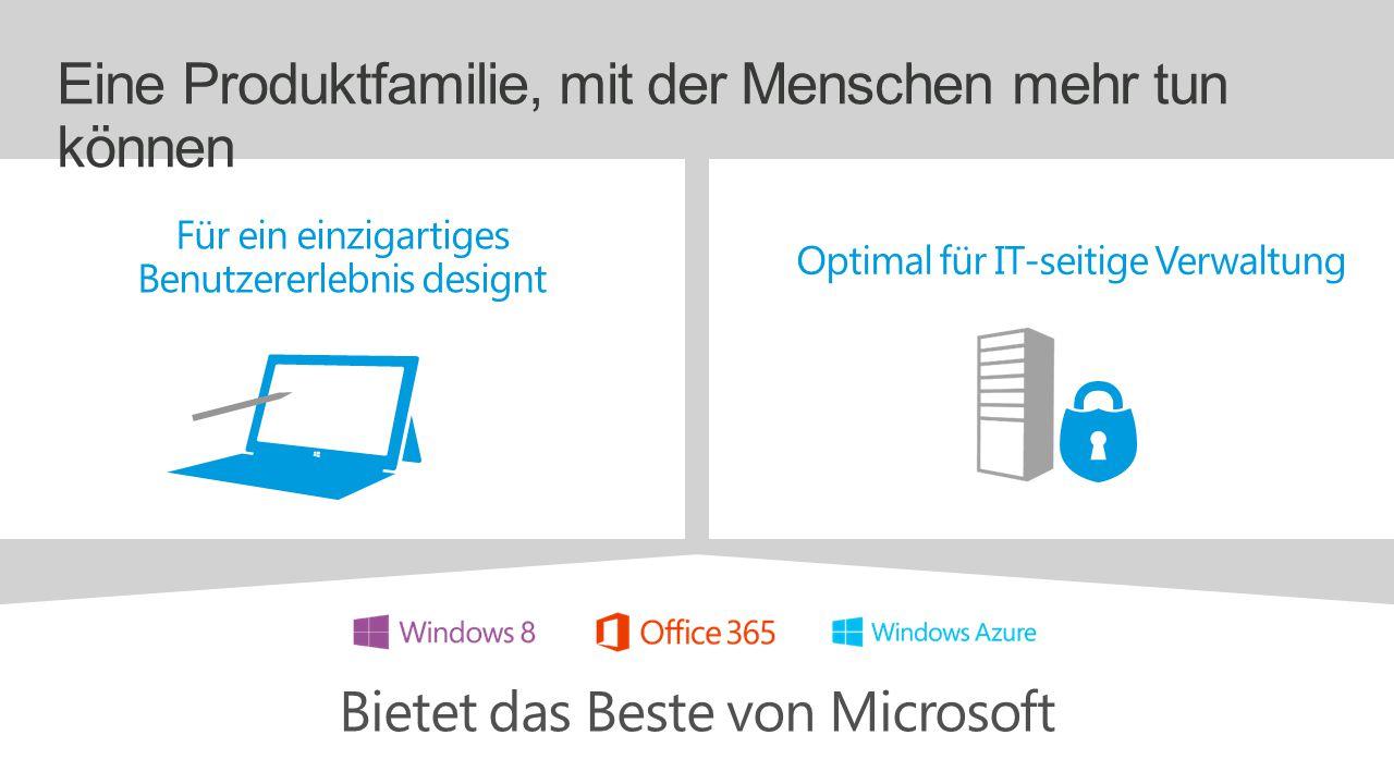 Eine Produktfamilie, mit der Menschen mehr tun können Bietet das Beste von Microsoft Für ein einzigartiges Benutzererlebnis designt Optimal für IT-seitige Verwaltung