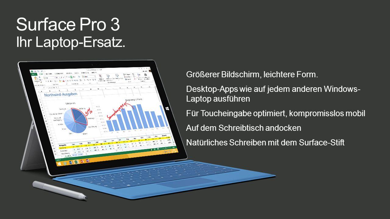 Beim Surface 2 haben wird die Anzahl der Pixel auf dem Display fast verdoppelt Das Surface 2 lässt sich um 35 bis 45 % schneller starten als das Surface RT (Kaltstart) Die Übertragung von Inhalten auf das Surface 2 geht etwa doppelt so schnell wie auf das Surface RT (20 bis 43 MBit/s) Die Übertragung vom Surface 2 auf ein externes Speichermedium geht rund viermal so schnell wie vom Surface RT (17 bis 76 MBit/s) Die Grafikwiedergabe auf dem Surface 2 ist 4- bis 6-mal schneller als auf dem Surface RT Das Surface 2 bietet einen höheren WiFi-Durchsatz als das Surface RT.