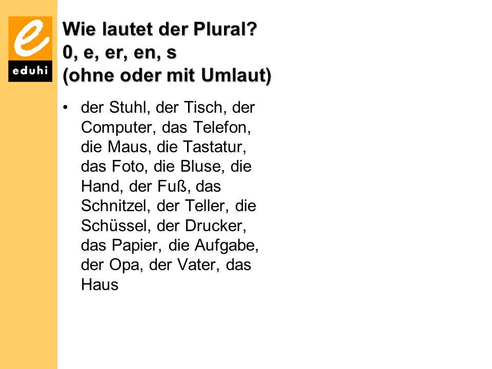 Wie lautet der Plural? 0, e, er, en, s (ohne oder mit Umlaut) der Stuhl, der Tisch, der Computer, das Telefon, die Maus, die Tastatur, das Foto, die B