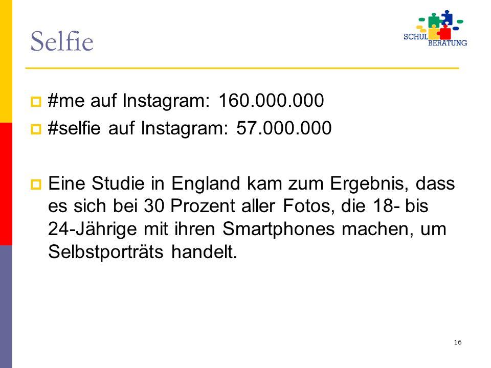 Selfie  #me auf Instagram: 160.000.000  #selfie auf Instagram: 57.000.000  Eine Studie in England kam zum Ergebnis, dass es sich bei 30 Prozent all