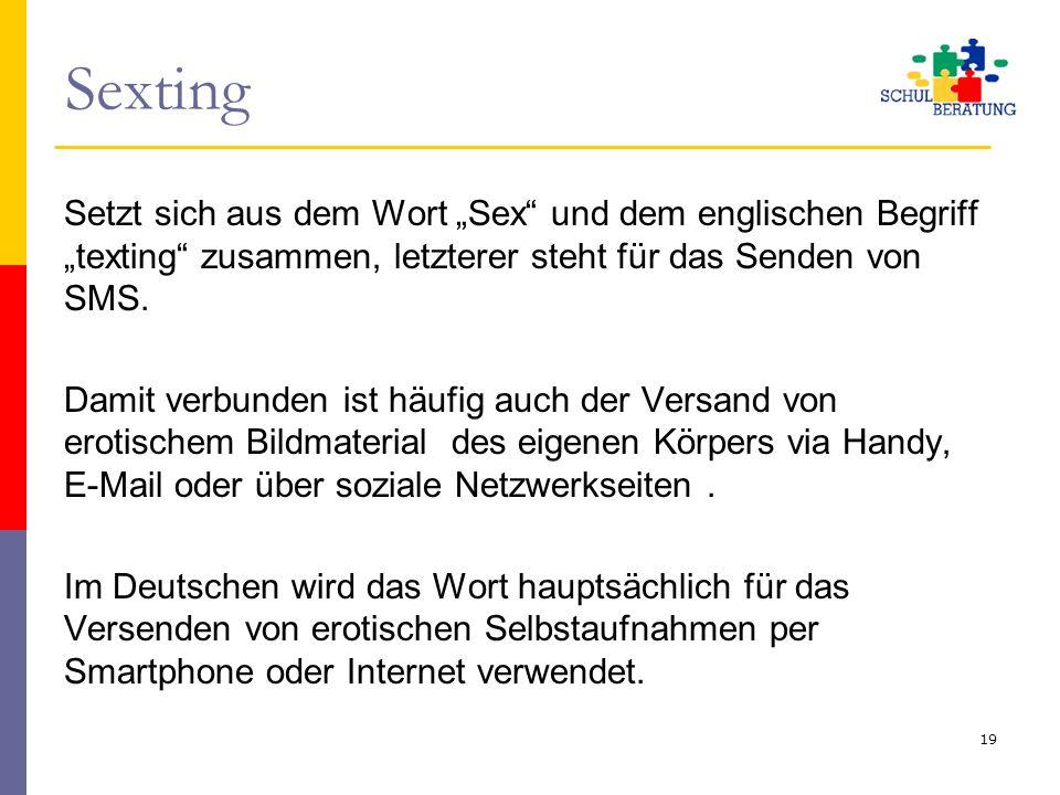 """Sexting Setzt sich aus dem Wort """"Sex"""" und dem englischen Begriff """"texting"""" zusammen, letzterer steht für das Senden von SMS. Damit verbunden ist häufi"""
