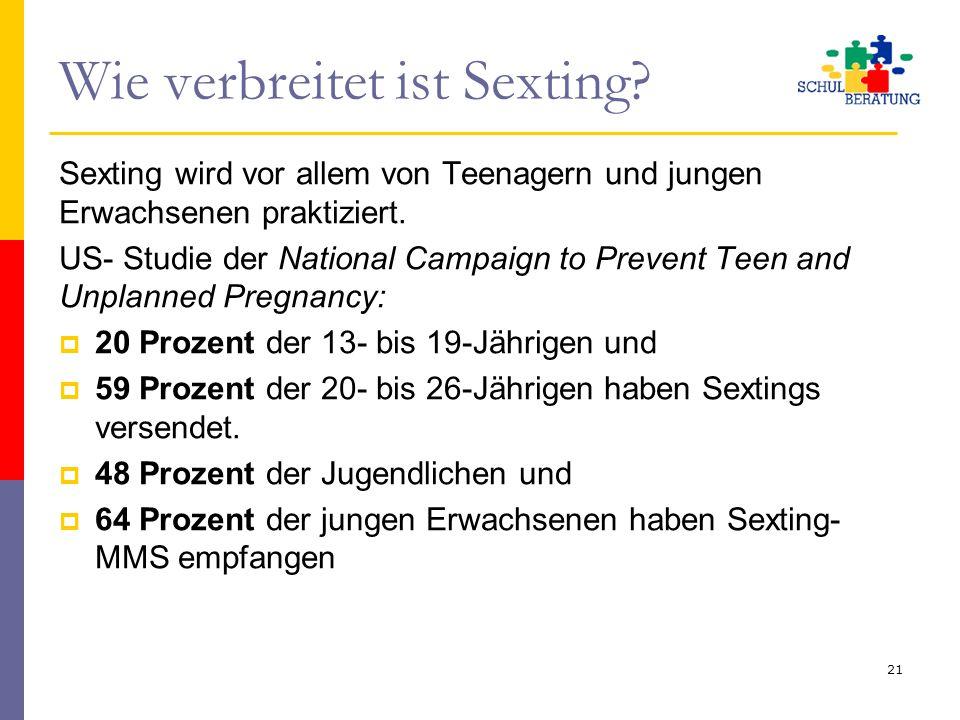 Wie verbreitet ist Sexting? Sexting wird vor allem von Teenagern und jungen Erwachsenen praktiziert. US- Studie der National Campaign to Prevent Teen