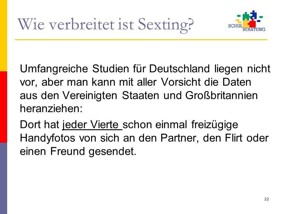 Wie verbreitet ist Sexting? Umfangreiche Studien für Deutschland liegen nicht vor, aber man kann mit aller Vorsicht die Daten aus den Vereinigten Staa