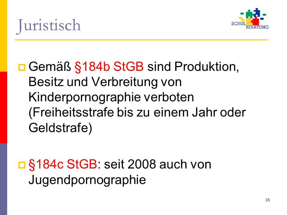 Juristisch  Gemäß §184b StGB sind Produktion, Besitz und Verbreitung von Kinderpornographie verboten (Freiheitsstrafe bis zu einem Jahr oder Geldstra