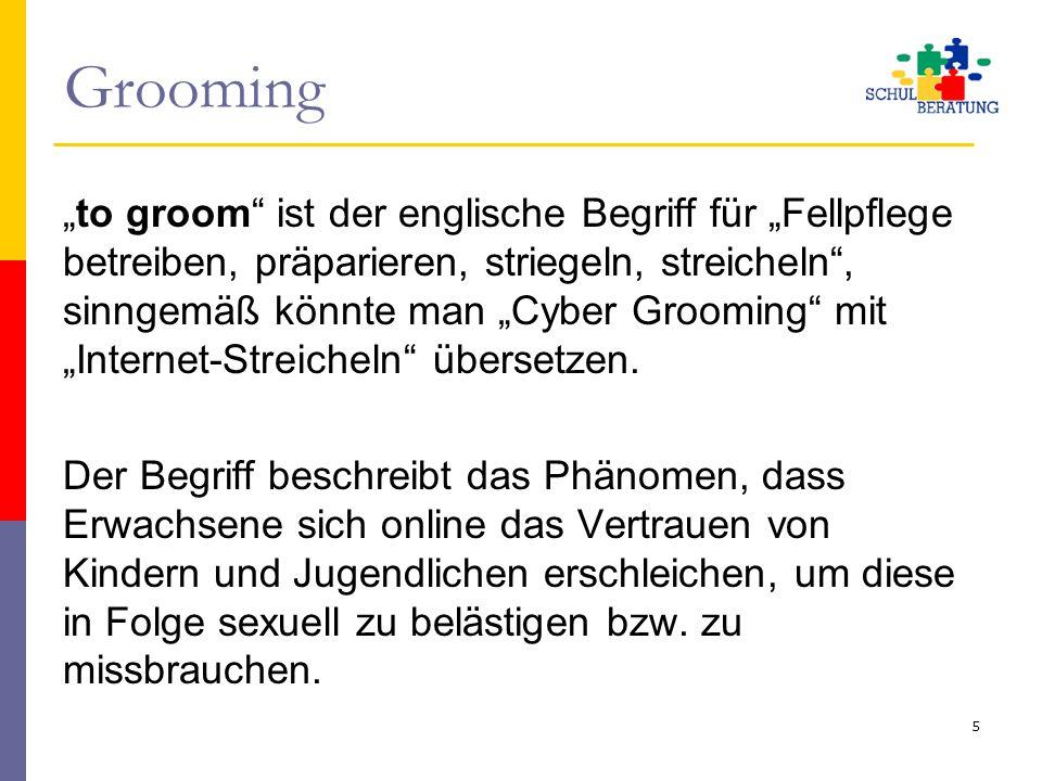 """Grooming """"to groom"""" ist der englische Begriff für """"Fellpflege betreiben, präparieren, striegeln, streicheln"""", sinngemäß könnte man """"Cyber Grooming"""" mi"""