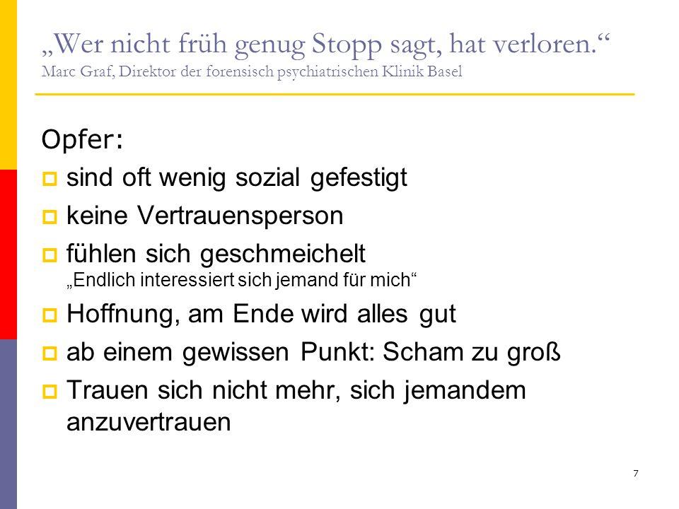 """"""" Wer nicht früh genug Stopp sagt, hat verloren."""" Marc Graf, Direktor der forensisch psychiatrischen Klinik Basel Opfer:  sind oft wenig sozial gefes"""