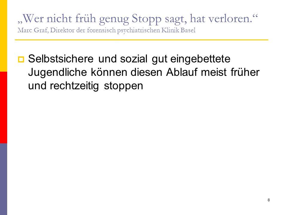 """"""" Wer nicht früh genug Stopp sagt, hat verloren."""" Marc Graf, Direktor der forensisch psychiatrischen Klinik Basel  Selbstsichere und sozial gut einge"""