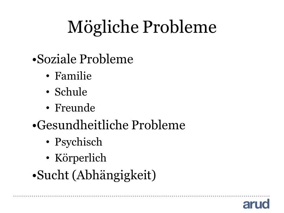 Mögliche Probleme Soziale Probleme Familie Schule Freunde Gesundheitliche Probleme Psychisch Körperlich Sucht (Abhängigkeit)