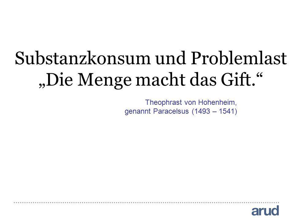"""Theophrast von Hohenheim, genannt Paracelsus (1493 – 1541) Substanzkonsum und Problemlast """"Die Menge macht das Gift."""""""
