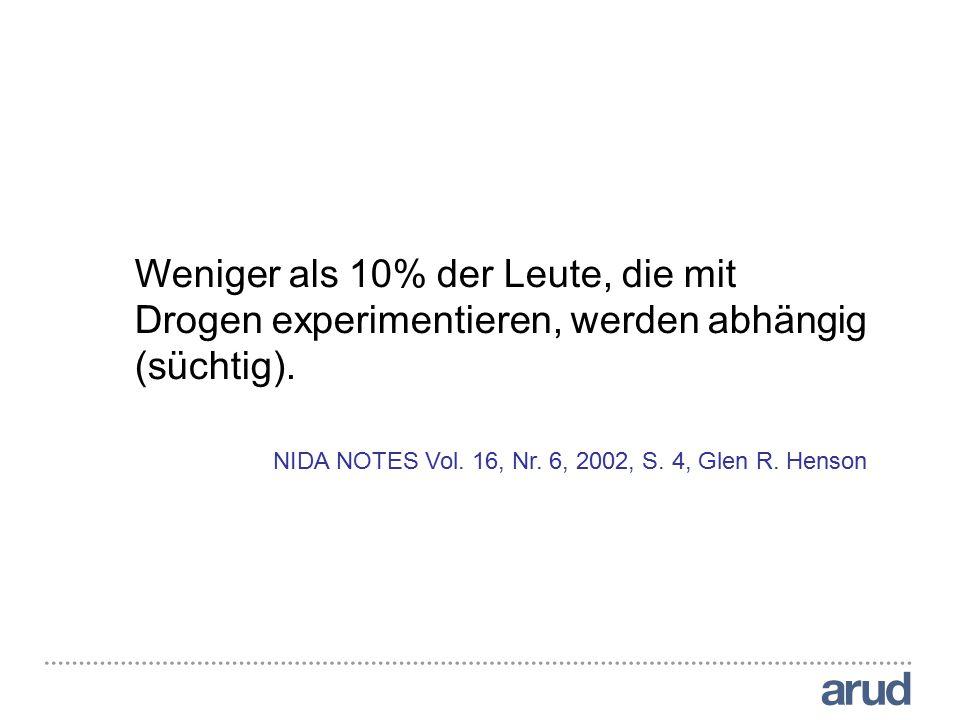 Weniger als 10% der Leute, die mit Drogen experimentieren, werden abhängig (süchtig). NIDA NOTES Vol. 16, Nr. 6, 2002, S. 4, Glen R. Henson Weniger al