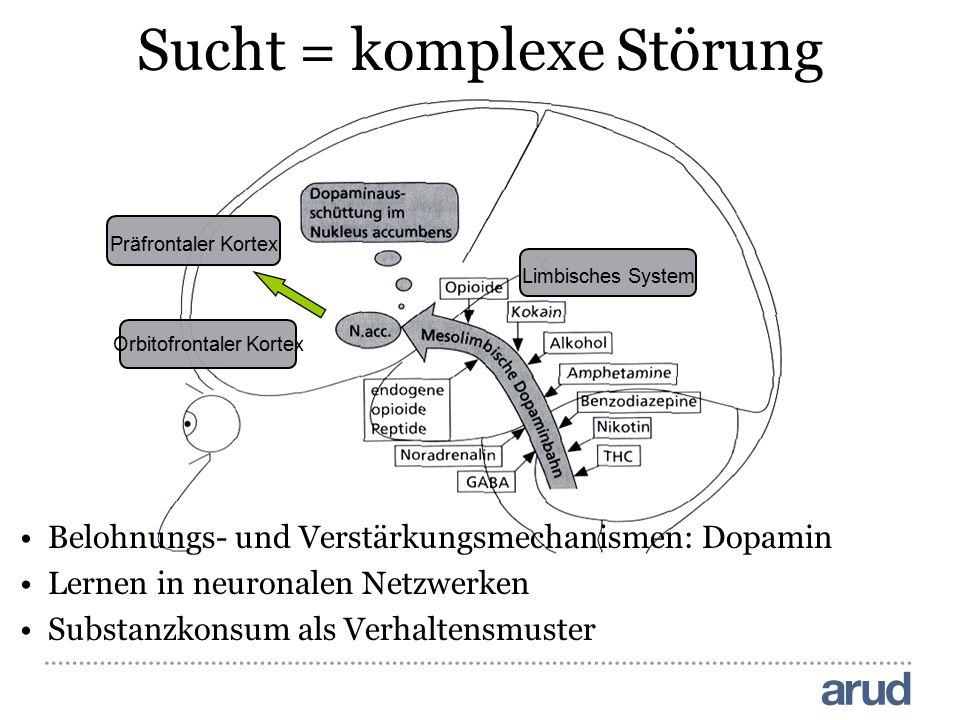 Präfrontaler Kortex Orbitofrontaler Kortex Limbisches System Sucht = komplexe Störung Belohnungs- und Verstärkungsmechanismen: Dopamin Lernen in neuro