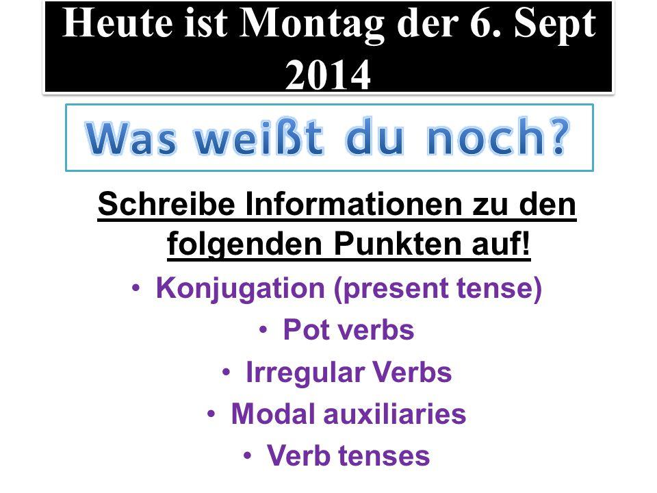 LT: die deutschen Verben Schreibe Informationen zu den folgenden Punkten auf.
