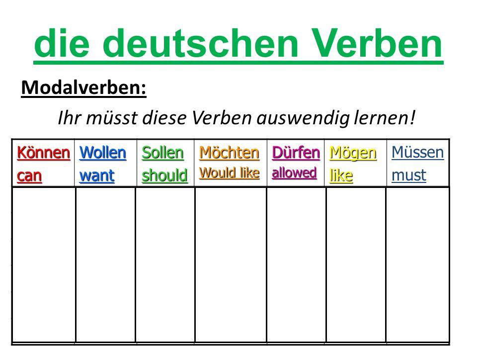 Modalverben: Ihr müsst diese Verben auswendig lernen.