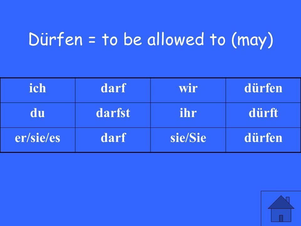 11 Dürfen = to be allowed to (may) ichdarfwirdürfen dudarfstihrdürft er/sie/esdarfsie/Siedürfen